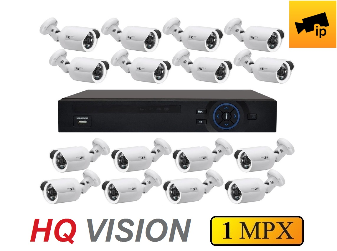 16 kamerový IP set 3.6mm 1Mpx HQ-VISION